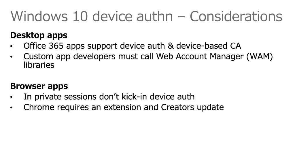 Windows 10 device authn – Considerations
