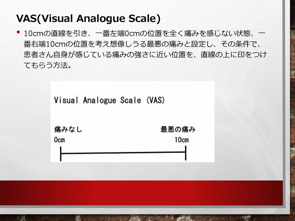 VAS(Visual Analogue Scale)