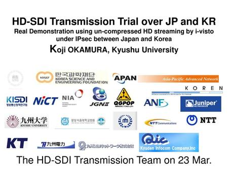 The HD-SDI Transmission Team on 23 Mar.