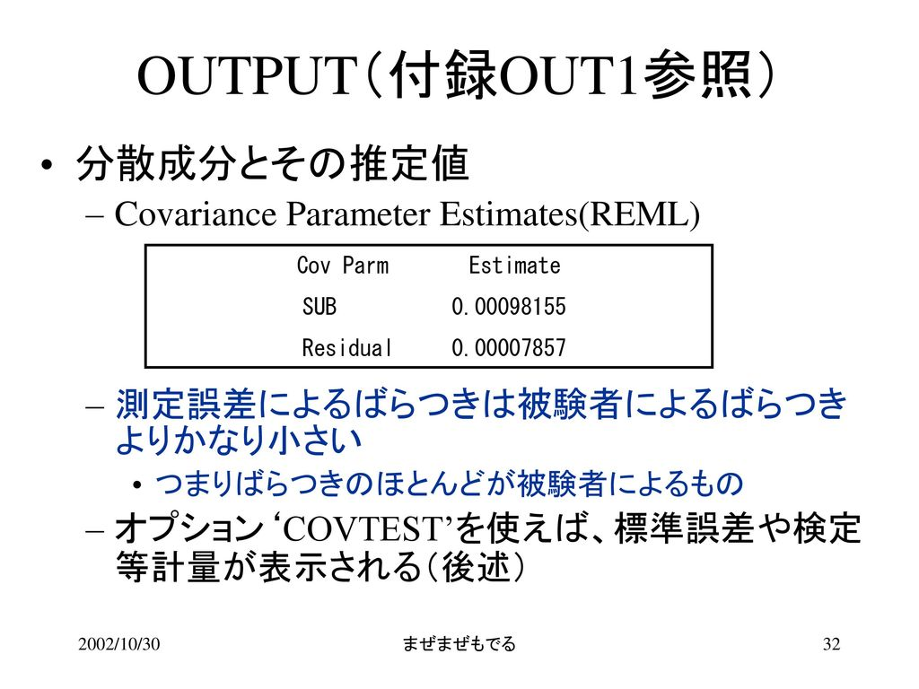 OUTPUT(付録OUT1参照) 分散成分とその推定値 Covariance Parameter Estimates(REML)