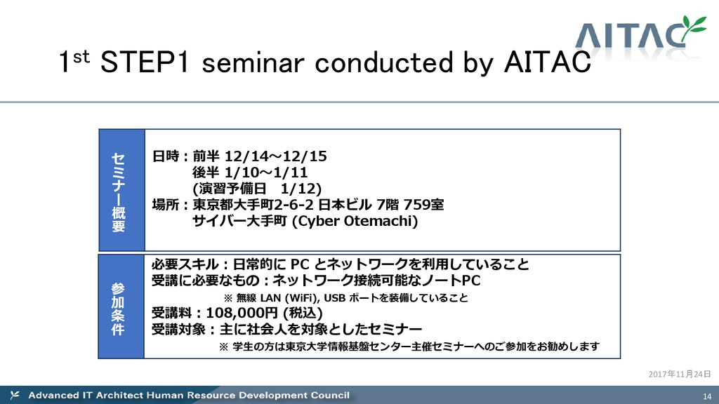 AITAC Overview and Plan of Activities Advanced IT Architect