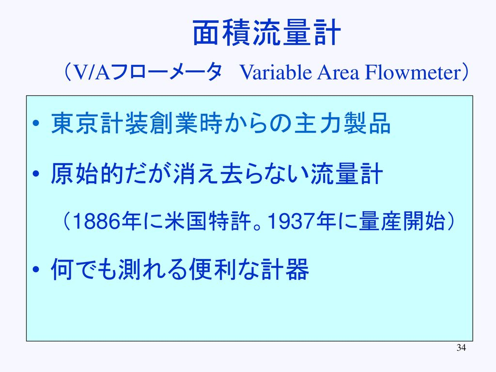 (V/Aフローメータ Variable Area Flowmeter)