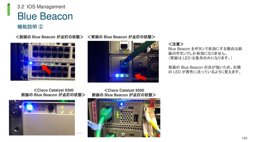 Blue Beacon 3.2 IOS Management 機能説明 ② <前面の Blue Beacon が点灯の状態>