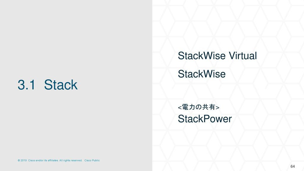 StackWise Virtual StackWise <電力の共有> StackPower 3.1 Stack 64
